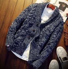 Mens Chunky Collared Cardigan Winter Sweater Shawl Thick Short Knitted Tops size