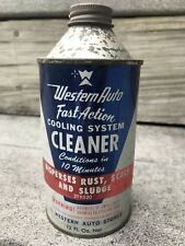 VINTAGE WESTERN AUTO Cooling System Fast Action Cleaner 12oz Oil TIN CAN 1964
