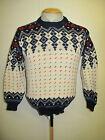 "Traditional Vintage Nordic Norwegian Pattern Crew Neck Jumper Size S 36-38"""