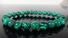Green Banded MALACHITE Bead Bracelet for Men or Women Stretch 8mm AAA - 7.5""