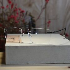 Rimless titanium Eyeglasses black mens Spectacle Optical RX clear lens glasses