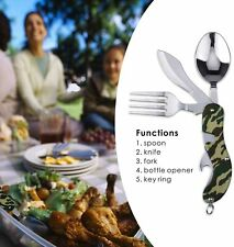 Outdoor Tableware (Fork/Spoon/Knife/Bottle Opener) Camping Utensils 4 in 1