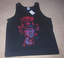 Men Tank Tshirt Black Patriotic Red Blue Print Uncle Sam Ultra Cotton NWT M L
