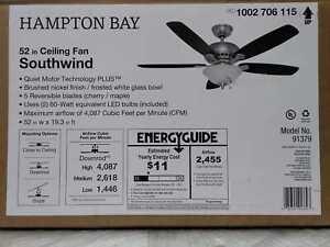 Hampton Bay Southwind 52 in. LED Indoor Brushed Nickel Ceiling Fan