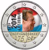 Luxemburg 2 Euro 2014 Gedenkmünze 175 Jahre Unabhängigkeit in Farbe
