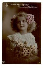 VINTAGE PHOTO POSTCARD RPPC GREETINGS GIRL PORTRAIT LITTLE FLOWER MAIDEN POSTER