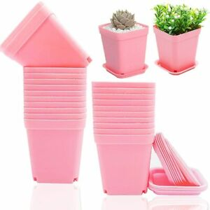 24 PCS 3 Inch Multi Square Nursery Flower Pots,Plastic Plant Pot with Nursery