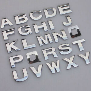 A~Z 0~9 Alphabet Letters Auto Car Sticker Self Adhesive Badge Emblem 3D Chrome