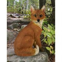 "Woodie, The Woodland Fox Design Toscano Exclusive Hand Painted 14"" Garden Statue"