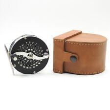 "Bo Mohlin Fly Fishing Reel. 3 3/8"". W/ Leather Case."