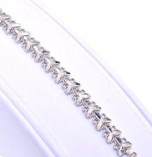14K White Gold Diamond-Cut Flower Bracelet