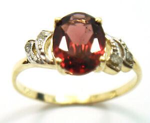 SYJEWELLERY LOVELY 9CT YELLOW GOLD NATURAL GARNET & DIAMOND RING SIZE M R1412