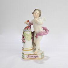 Antique Meissen Porcelain Cupid Motto Figurine - Un Me Suffit Heart PC