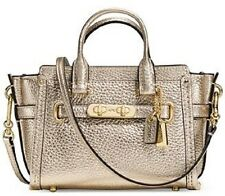 New Coach Mini Swagger 15 Pebble Leather 54625 metallic Light Gold Platinum bag