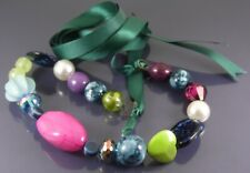 CHUNKY MULTI COLOURED NECKLACE GLASS CERAMIC AND ACRYLIC BEADS ON GREEN RIBBON