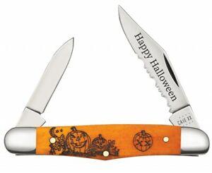 Case xx Happy Halloween Half Whittler Knife Orange Bone 10602