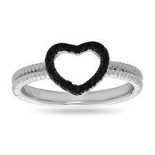 Black CZ Open Heart Ring .925 Sterling Silver Fashion