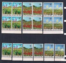 CYPRUS COMPLETE STAMP SET SCOTT #343 - 345 SIDE BLOCKS OF 4 + 1 MNH 1970 FLOWERS