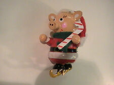 Piggy on Ice Skates wood Christmas Ornament