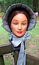 Civil War Dress Victorian Accessory Ladys Gray Cotton Slat~Sun Bonnet-Black Lace