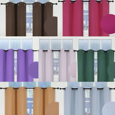 "1 SET INSULATE THERMAL SHORT PANELS WINDOW CURTAIN BLACKOUT 100% PRIVACY 36"" L"