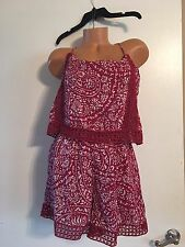 NWOT Women's Abercrombie & Fitch Romper Size L Maroon And White Beautiful