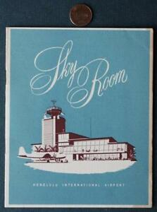 1950s Era Honolulu Hawaii International Airport Skyroom menu-Pre-Statehood!