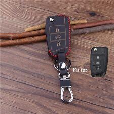 Leather car key cover for Volkswagen VW GOLF 7 MK7 remote protector keyring