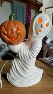 "12"" Vintage Ceramic Ghost Holding Pumpkin"