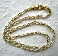 """Italy Sterling Silver & 14k Gold Necklace 18"""""""