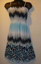 Dress Small Sexy Sundress Blue Black Leopard Smocked Chest Silky Mini NWT BR 70