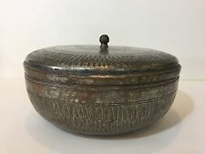 "Vintage Middle East Persian Hand Made Copper Round Box w/Cover, 5 1/2"" H x 10"" D"