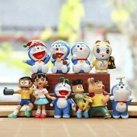 Doraemon red hat lots anime figure figures Set of 10pcs doll Toy anime collect