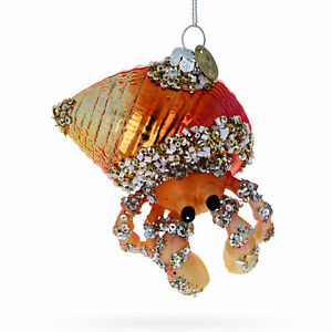 Orange Hermit Crab Glass Christmas Ornament
