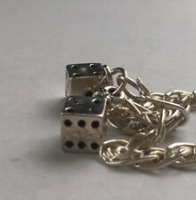 Lucky realistic dice charms on pretty 925 sterling silver bracelet