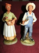 Homco Black American Farm Man & Women Garden Harvest Home Interior Figurine 1472