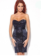 Amy Childs @Lipsy Size 8 Navy Sequin Boobtube Bodycon Bandeau Dress Party Club