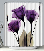 "Purple Delicate Flower Art Fabric SHOWER CURTAIN 70"" w/Hooks White Floral"