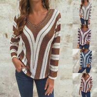 ZANZEA Women Casual Long Sleeve Top T Shirt Tee Loose Baggy Retro Striped Blouse