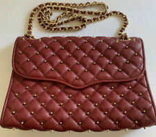 Rebecca Minkoff Maroon Leather Bag w/ Gold Spike Studs Pre-owned