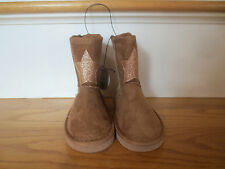 Toddler Girl GOLD GLITTER STAR BROWN FAUX SUEDE CASUAL short boots NWT 5 6