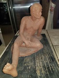Artist Signed Large Nude Male Sculpture 1987 L. Mc Camey?