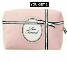 2X  Too Faced Makeup Cosmetic Bag Pink & Black New in Package