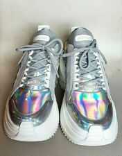 BRONX Women's Chunky Iridescent Suede Nappa Trainers White Silver UK 6 rrp £155
