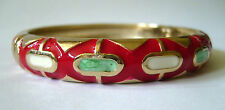ROUND ENAMEL BANGLE WITH SPRING CLASP OPENING - RED SPOTS IN COLOURED GIFT BOX