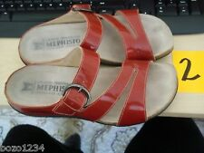 WOMEN'S MEPHISTO RED PATENT LEATHER SANDALS BUCKLE SZ 7 37 CORK FOOTBED MUST SEE