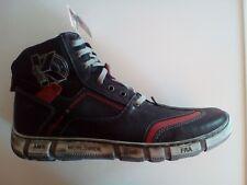 Kacper Herren Leder Boots mit Reißverschluss schwarz-rot-kombiniert Größe 41 NEU
