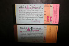 2 Vintage 1950s 1960s Disneyland Tickets Adult Coupon Book 6110A 599-A
