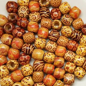 Large Hole mixed BOHO Wooden Beads for Macrame Charms Jewellery Crafts UK Seller