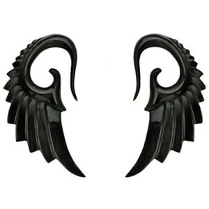 Pair of Organic Hand Carved Angelic Wing Horn Hanger Ear Plugs Tapers Gauge E263